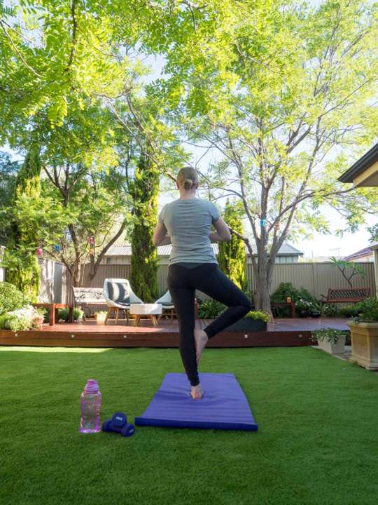 How to Turn Your Garden into a Backyard Gym and Save - Take it easier with yoga, Australian Outdoor Living.
