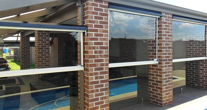 Pool area outdoor blinds installation