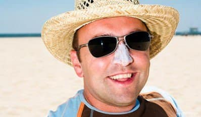 Man with Sunscreen on his Nose