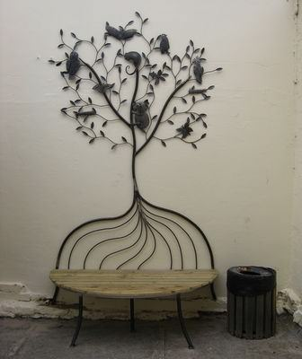 overwrought tree bench