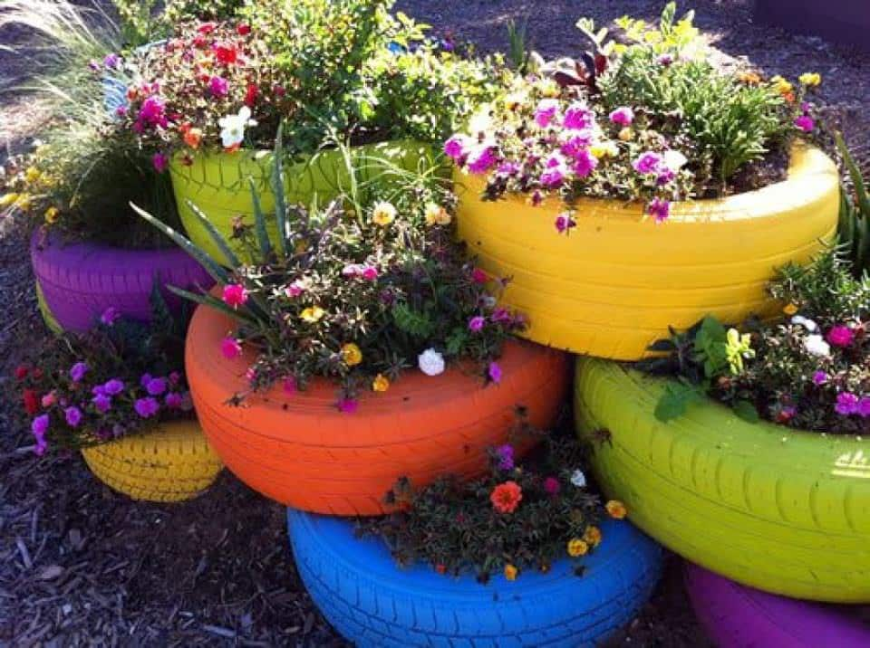 6 Awesome DIY Backyard Design Ideas for Spring You Won't Be Able to Resist - Tyre Garden Beds, Australian Outdoor Living.