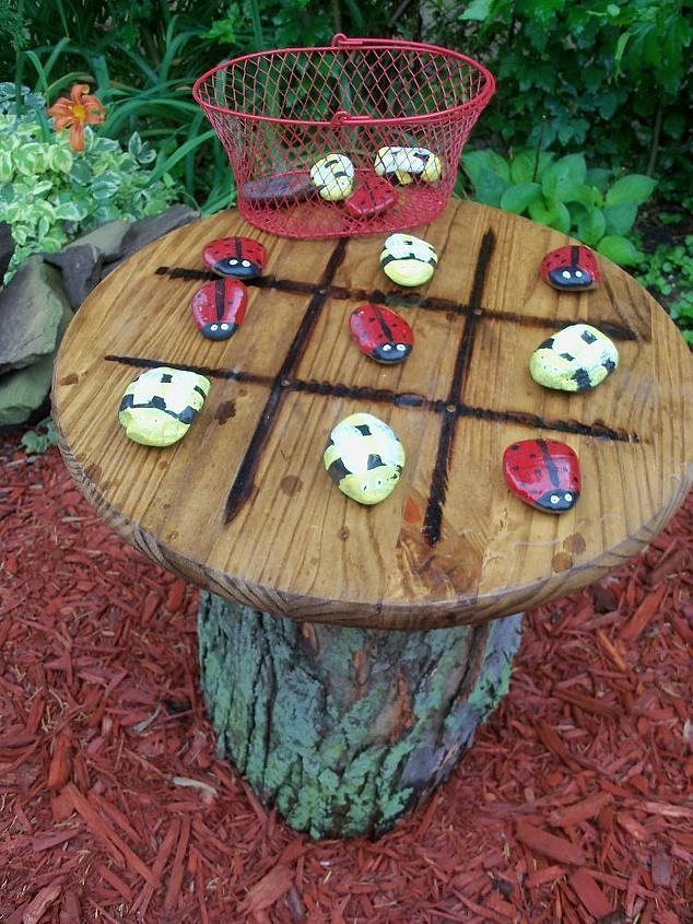 Tic tac toe garden table crafts outdoor living repurposing upcycling