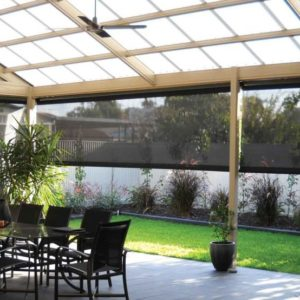Outdoor Entertaining Space with Blinds
