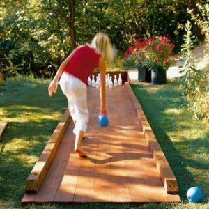 DIY outdoor bowling alley