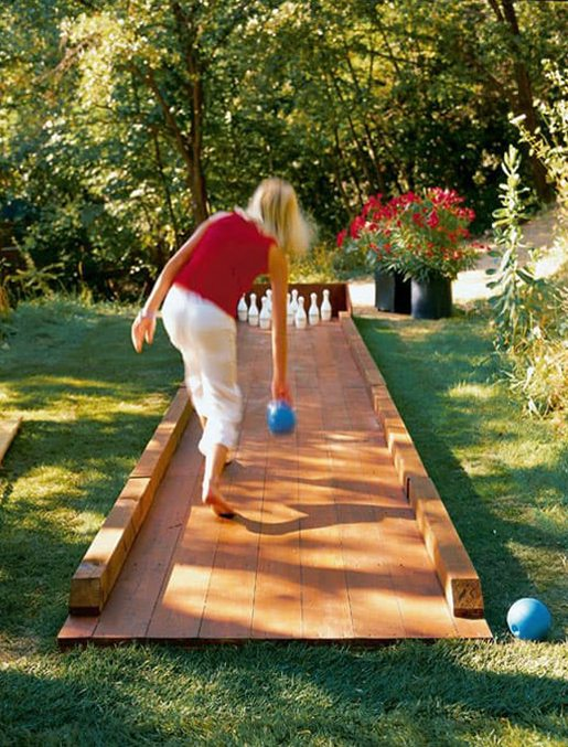 DIY outdoor bowling alley