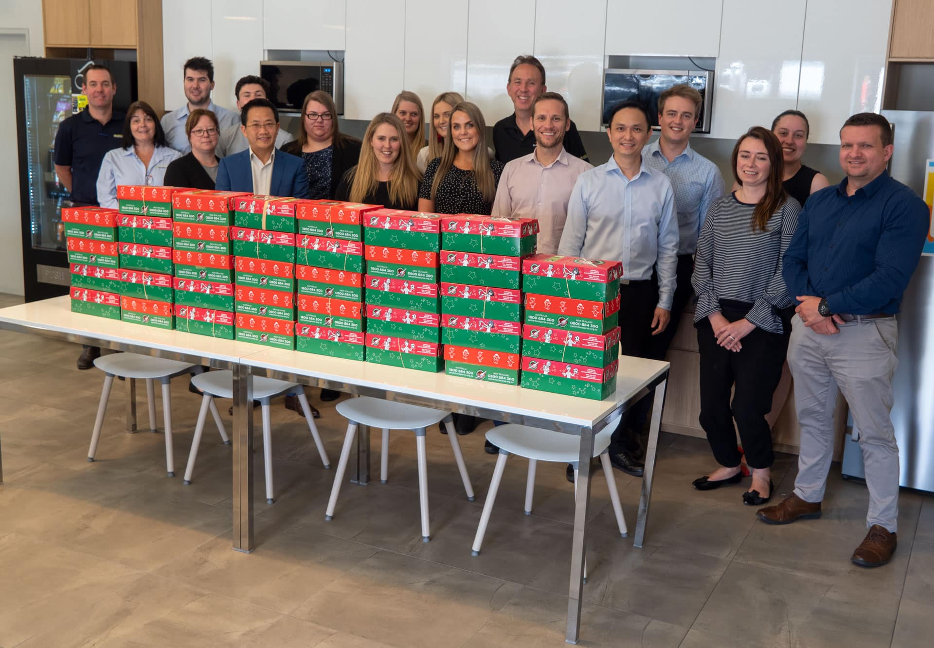 AOL gets into Christmas spirit - Staff from Australian Outdoor Living with their Operation Christmas shoeboxes, Australian Outdoor Living.