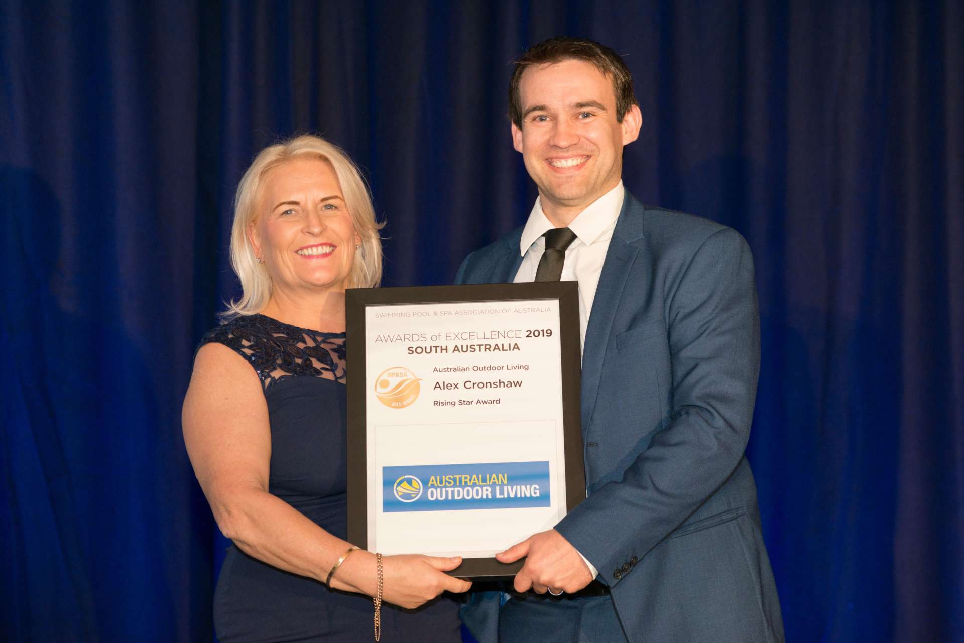 Australian Outdoor Living makes splash at South Australian awards ceremony - Pools Design Consultant Alex Cronshaw received the Rising Star Award, Australian Outdoor Living.