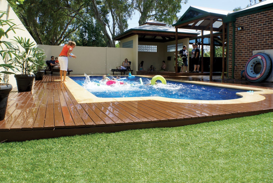 A helpful guide to buying a timber deck - Timber also looks great around a swimming pool, Australian Outdoor Living.